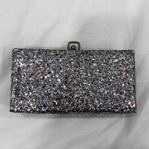 J. crew rainbow sparkly box clutch purse!
